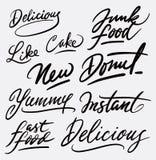 Очень вкусная каллиграфия почерка высококалорийной вредной пищи Стоковая Фотография