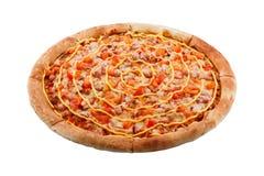 Очень вкусная классическая итальянская пицца с цыпленком, болгарским перцем и сыром стоковое изображение