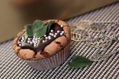 Очень вкусная мята пирожного булочки с расплавленным шоколадом Стоковое Изображение RF