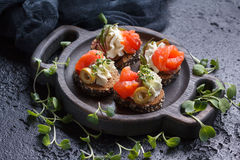 Очень вкусное канапе с семгами, творогом, оливкой с микро- зелеными цветами на темной предпосылке Холодная закуска Стоковое Изображение