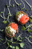 Очень вкусное канапе с семгами, творогом, оливкой с микро- зелеными цветами на темной предпосылке Холодная закуска Стоковое Изображение RF