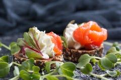 Очень вкусное канапе с семгами, творогом, оливкой с микро- зелеными цветами на темной предпосылке Холодная закуска Стоковые Изображения
