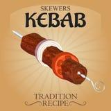 Очень вкусное ОБЪЯВЛЕНИЕ плаката рецепта традиции kebab протыкальников Стоковая Фотография RF