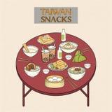 Очень вкусное собрание закусок Тайваня иллюстрация вектора