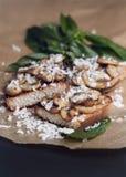 Очень вкусное bruschetta с грибами Стоковое Фото