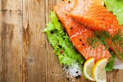 Очень вкусное salmon филе, богатое в масле омеги 3 Стоковая Фотография RF