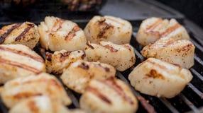 Очень вкусные горячие scallops моря жаря на угле жарят Стоковые Фото