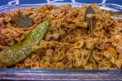Очень вкусные домодельные итальянские креветки желания блюда макаронных изделий стоковое изображение rf