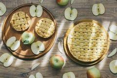 Очень вкусные домодельные яблочные пироги и набор всех свежих зеленых яблок и яблока отрезка и куски в мягкий испускать лучи есте стоковое изображение