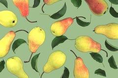 Очень вкусные желтые зрелые груши с лист на розовой предпосылке Beauti Стоковая Фотография RF