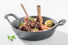 Очень вкусные зажаренные в духовке нервюры овечки с овощами на белой таблице Стоковые Фото