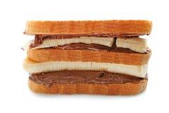 Очень вкусные здравицы при изолированные затир и бананы шоколада, Стоковое Фото