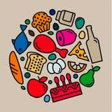 Очень вкусные значки еды, качественный плоский стиль, логотип Стоковое Фото
