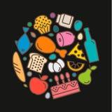 Очень вкусные значки еды, качественный плоский стиль, логотип Стоковые Фото