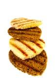 Очень вкусные здравицы белого и черного хлеба Стоковые Изображения RF