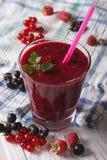 Очень вкусные и здоровые smoothies с свежим крупным планом ягод Vert стоковые изображения rf