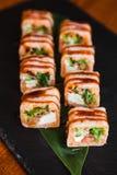 Очень вкусные крены с рыбами и сыром Стоковая Фотография