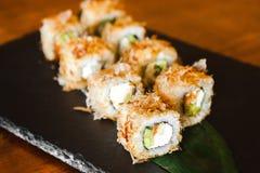 Очень вкусные крены с рыбами и сыром Стоковые Фотографии RF