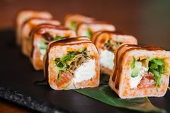 Очень вкусные крены с рыбами и сыром Стоковая Фотография RF