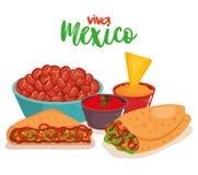 Очень вкусные мексиканские значки еды иллюстрация вектора