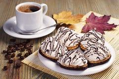 Очень вкусные печенья и кофе Стоковые Фото