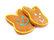 Очень вкусные печенья на белой предпосылке зайчик пасха Стоковое фото RF