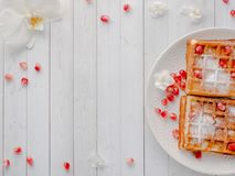 Очень вкусные рт-моча венские waffles с семенами меда и гранатового дерева на белом космосе экземпляра плиты Стоковые Изображения RF