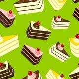 Очень вкусные торты на зеленой предпосылке, безшовной картине Стоковые Фотографии RF