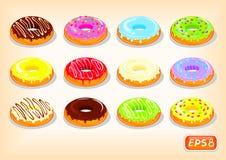 Очень вкусные donuts с пропуская яркой поливой иллюстрация вектора