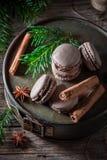 Очень вкусные macaroons для рождества с циннамоном и спрусом Стоковые Изображения RF