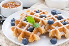 Очень вкусные waffles для завтрака, конца-вверх Стоковая Фотография RF