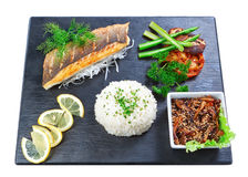 Очень вкусный востоковедные рыбы и грибы суш тарелки. Стоковое Фото