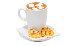 Очень вкусный завтрак с какао и тортами Стоковые Изображения RF