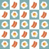 Очень вкусный завтрак с яичком и сосисками, вектором яичка, вектором сосисок Стоковое фото RF