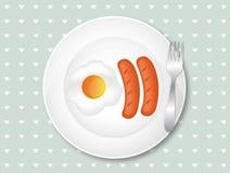 Очень вкусный завтрак с яичком и сосисками Стоковая Фотография RF