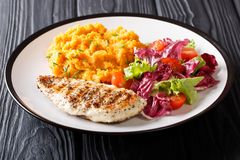 Очень вкусный зажаренный цыпленок с гарнирует сладкого картофеля и свежий стоковые изображения