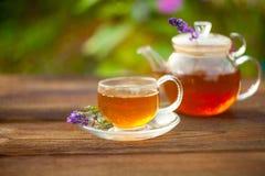 Очень вкусный зеленый чай в красивом стеклянном шаре на таблице стоковое фото
