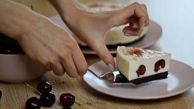 Очень вкусный и сладостный чизкейк с студнем вишни сток-видео