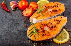 Очень вкусный конец-вверх salmon стейка стоковые изображения rf