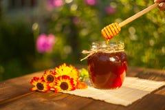 Очень вкусный очень вкусный мед в опарнике на таблице Стоковое Изображение RF