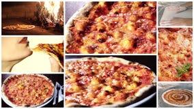 Очень вкусный монтаж пиццы сток-видео