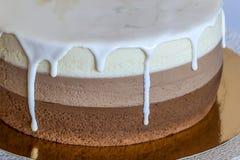 Очень вкусный домодельный именниный пирог мрамора шоколада украшенный с Стоковая Фотография RF