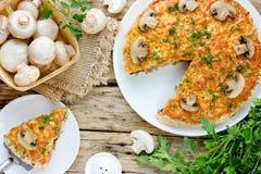 Очень вкусный пирог гриба с champignon Стоковое Фото