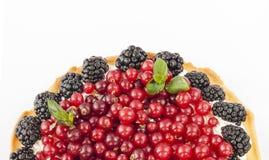 Очень вкусный пирог с свежими красными смородинами, ежевиками, полениками, клубниками и сливк Стоковое фото RF