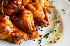 Очень вкусный пряный цыпленок с ростками лука Стоковое фото RF