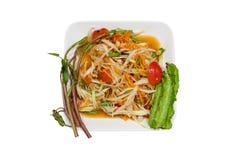 Очень вкусный салат папапайи на изолированный Стоковые Изображения RF