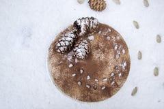 Очень вкусный свежий домодельный торт зимы с гайками и шоколадом сосны Стоковая Фотография RF
