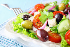 Очень вкусный свежий смешанный греческий салат Стоковая Фотография