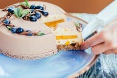 Очень вкусный сметанообразный торт Стоковое Фото