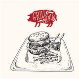 Очень вкусный сочный бургер Иллюстрация эскиза Стоковое Изображение RF